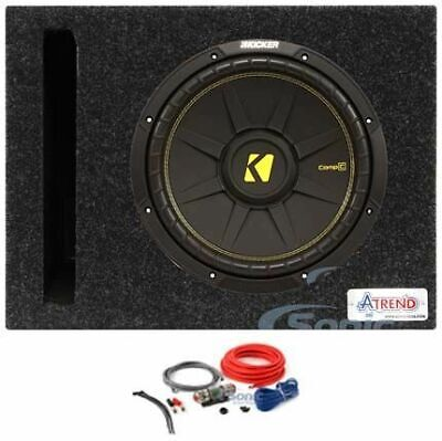 "Kicker 500W Peak 250W RMS 10"" CompC Single 4-Ohm Car Subwoofer Package"