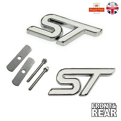 St White Front Grill & Rear Set Metal Logo Ford Focus Fiesta Decal Fixing Kit