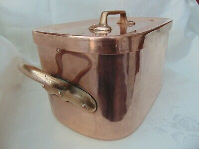 ANTIQUE FRENCH HAMMERED COPPER DAUBIERE BRAISING ROASTING PAN 32cm DOVETAILED