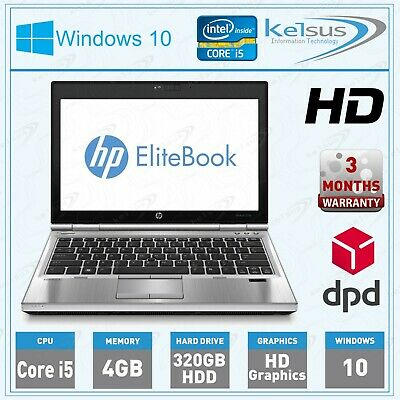 HP EliteBook 2560p Intel i5 @ 2.60GHz, 4GB RAM, 320GB HDD Windows 10 Laptop PC
