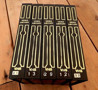 5 x Vintage VHS Video Cassette Tape Storage Boxes Cases Black & Gold Box Case #A