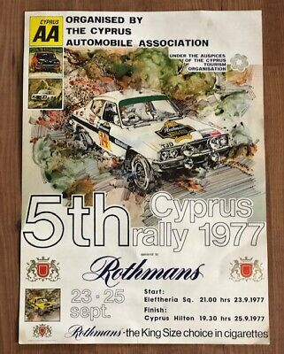 VINTAGE CYPRUS 5th ROTHMANS RALLY POSTER 1977