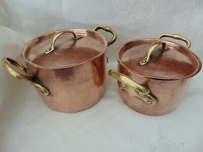 Pair Antique Georgian French Hammered Copper Casserole Stew Stock Pots Marmite