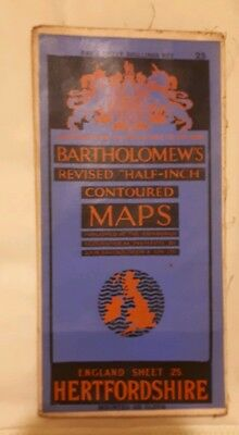 Bartholomews Revised Half Inch Contoured Cloth Map Hertfordshire Sheet 25