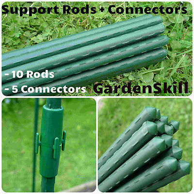 10 x 4ft Plastic Coated Steel Bamboo Cane Plant Support +5Connectors