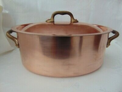 Vintage French Copper Oval Casserole Dish Cocotte Tin Lined Bronze Handles