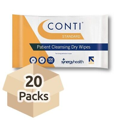20x Conti Standard Patient Cleansing Dry Wipes - 32cm x 28cm - Wash Aid