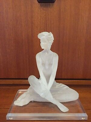1997 Signed Frosted Lucite Woman Statue