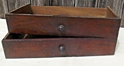 Pair of Vintage French Wooden Drawer dovetailed Oak and rosewood veneer