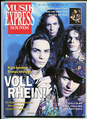 MUSIK EXPRESS Sounds  Nr. 6  1992  :   Brings   U2   Galliano    Phil Collins