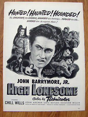 Merchandise & Memorabilia Collection Here Original Print Ad 1950 High Lonesome Movie Ad John Barrymore Jr Advertising-print