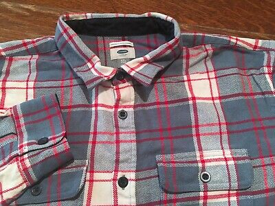 1c733160 Old Navy Regular Fit Red Blue White Plaid Thick Flannel Shirt Men's 2XL XXL