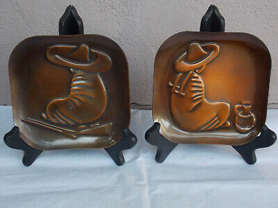 Vintage REBAJES Copper Mexican Male Female Figures Pair of Trays