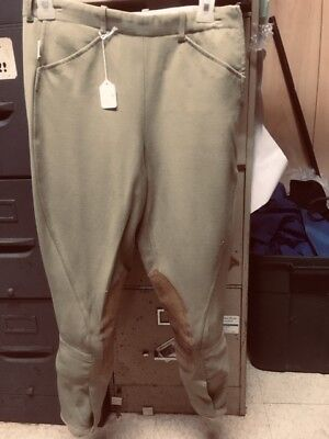 TAILORED SPORTSMAN Side Zip Horse RIDING Breeches Youth sz 16 *VGC* Green/Beige