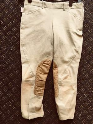 TAILORED SPORTSMAN Side Zip Horse RIDING Breeches Youth sz 12 *VGC* Beige