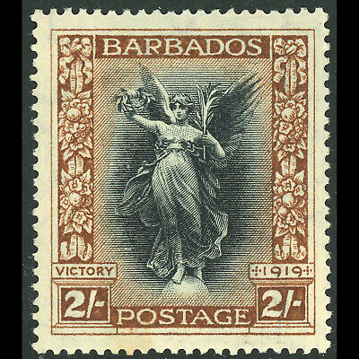 BARBADOS 1920-21 Victory 2s Black & Brown. SG 210. Lightly Hinged Mint. (WB203)