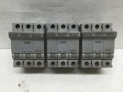 Bussman CHM3 3 Pole Fuse Holder 600V 30A (Lot of 3)
