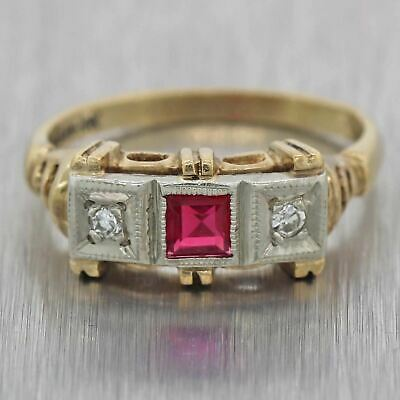 1930s Antique Art Deco Estate 10k Yellow Gold .25ctw Ruby Diamond Cocktail Ring