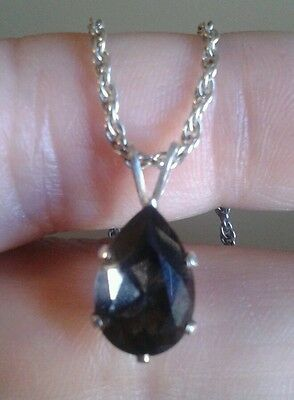 "Pear Shape Brown Smoky Topaz 925 Solid Sterling Silver Necklace 18"" Beauty"