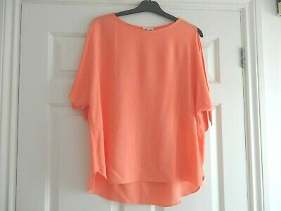 Blouse Top Shirt River Island Size 10 Orange Cold Shoulder Ladies Girls