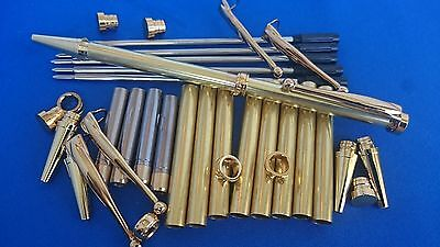 Woodturning Pen Kits x5 Slimline FANCY Gold/Chrome/Gun Metal/Silver/Copper/Black
