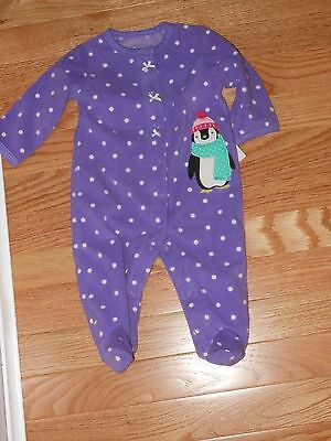 f3ee89a54 NWT - Carters purple & white penguin fleece sleep n play footed outfit - 3  mos