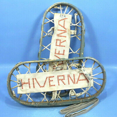 Vintage Swiss HIVERNA Bear Paw SNOW SHOES Bentwood & Rope ~7x~16 Winter Sport