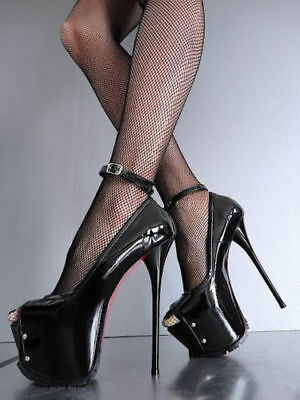1969 Pumps 19 cm Sexy 42 43 black leather echteleder fetish lack high heels