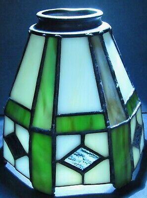 Antique Leaded Stained Glass Shade 2 1/4 Fitter Arts Crafts Mission Lamp Backbar
