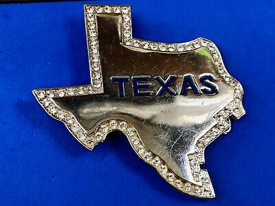 Large Silver tone Cut out figural state of Texas Belt Buckle Rhinestone Accents