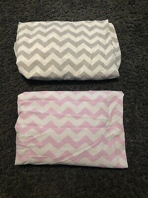 Girls Nursery Toddler Bed Fitted Sheets Pink And Grey Chevrons