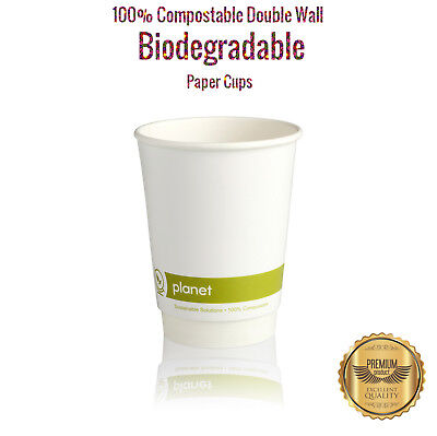 100 Biodegradable Paper Cups   8oz Compostable & Eco Friendly   Free Delivery