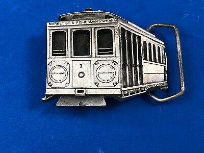 """""""Market Street/Fisherman's Wharf Cable Car"""" Solid Brass Belt Buckle - Beautiful"""