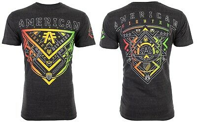 AMERICAN FIGHTER Mens T-Shirt ALBERTA Athletic BLACK HEATHER Biker Gym UFC $40