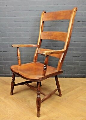 Antique Victorian Ladder Back Elm & Beech Farmhouse Elbow Chair Carver Armchair