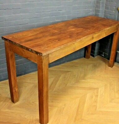Antique Style Long Pine Farmhouse Dining Kitchen Table (Island, Bakers Table)