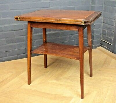Antique Edwardian Inlaid Mahogany Folding Fold Over Card Table, Games Work Table
