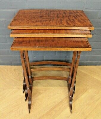 Antique Edwardian Inlaid Mahogany Nest of Three Tables ~ Country Estate Tables