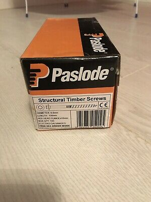 Paslode timber screws 8.0mm Length 100 QTY100 Hex Head Flange 16mm
