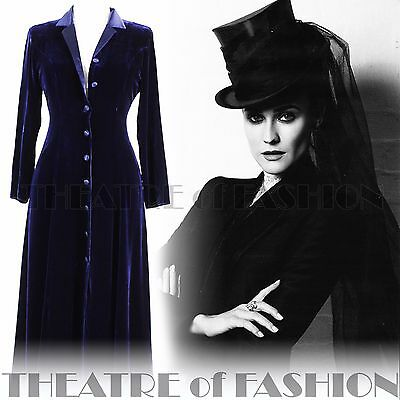 COAT VELVET SILK DRESS VINTAGE LAURA ASHLEY UK 8 RIDING VICTORIAN 30s EDWARDIAN