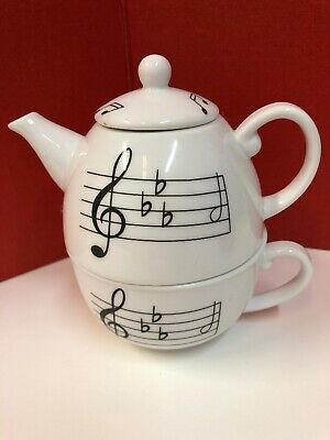 Vintage House of Prill Symphony Music Note Tea Set For One Rare White Porcelain