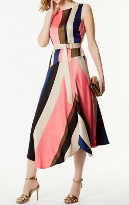 06a42f1fd2ac Karen Millen Asymmetric Flare Belted Abstract Stripe Dress Occasion Tea  Party 10