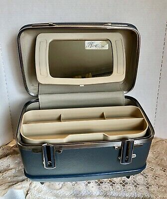 1960's Vintage American Tourister Blue Train Case Tray Mirror Cosmetic Suitcase