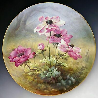 """Large 18"""" French Limoges Porcelain Wall Plaque Charger Hand Painted Flowers"""