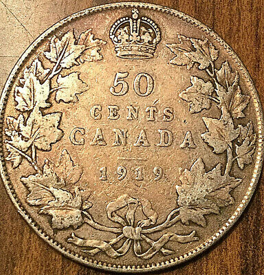 1919 Canada Silver 50 Cents Fifty Cents
