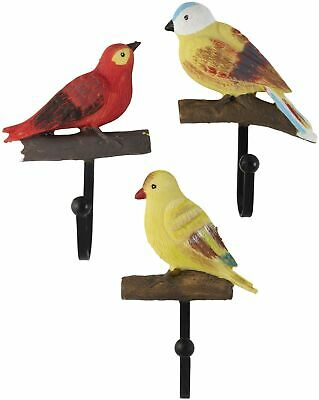 Decorative Rustic Colorful Birds On a Branch Resin Wall Coat Hooks (Set of 3)