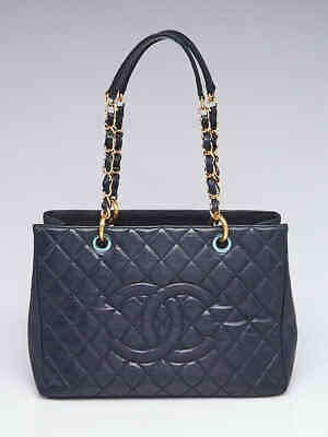 fc4ddbd725af5b CHANEL DEAUVILLE NAVY Leather Shopping Tote Bag - Medium - Excellent ...