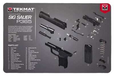 for sig sauer p365 armorers gun cleaning bench mat exploded view schematic