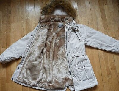 Immaculate NEXT Faux Fur Lined Parka/Coat, in Stone Colour, 9-10 years, RRP £60+