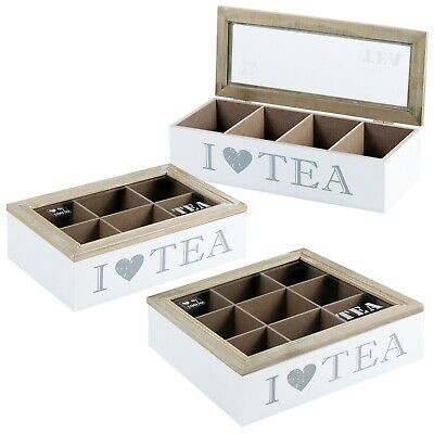 White 4, 6 or 9 Section Wooden MDF Tea Box Multi Storage Compartments Clear Lid